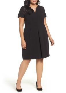 Tahari Short Sleeve A-Line Dress (Plus Size)