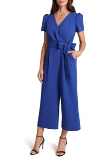 Tahari Short Sleeve Crop Jumpsuit