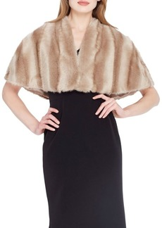 Tahari Short-Sleeve Faux Fur Cape