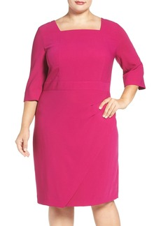 Tahari Side Pleat Square Neck Sheath Dress (Plus Size)