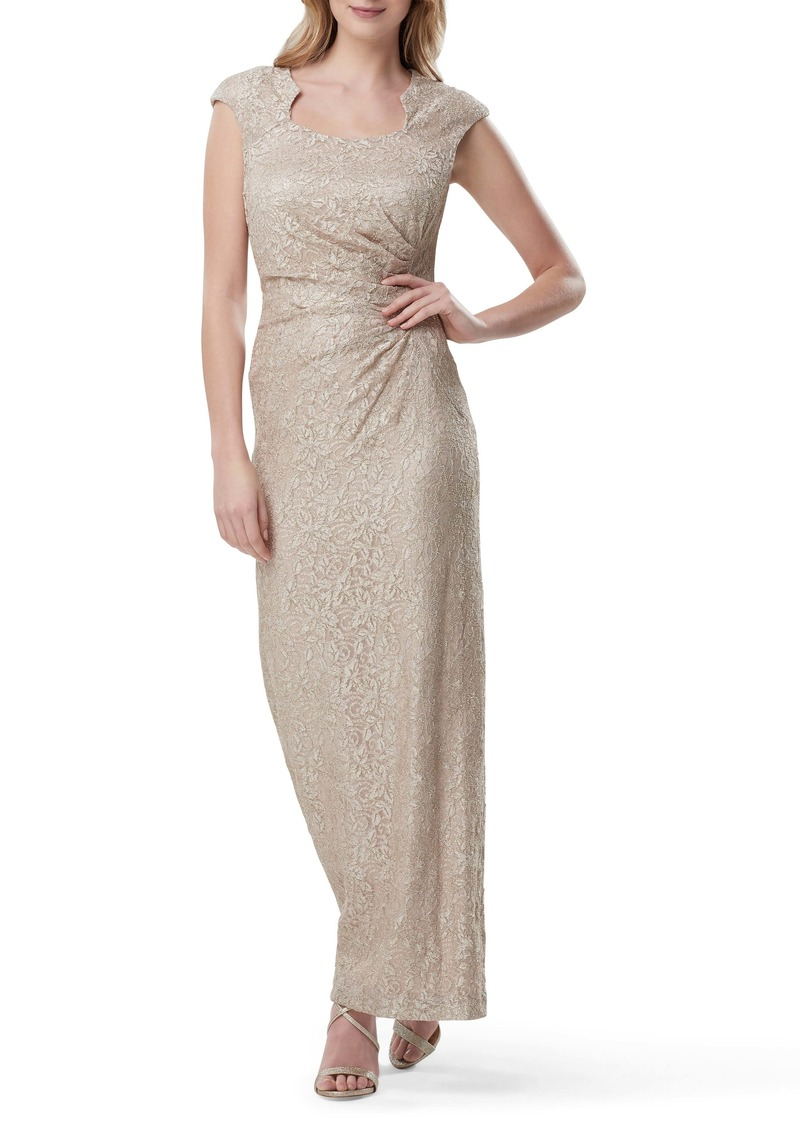 Tahari Side Ruched Stretch Lace Evening Gown