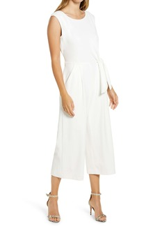 Tahari Side Tie Crepe Crop Jumpsuit