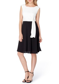Tahari Side Tie Fit & Flare Dress