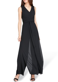 Tahari Sleeveless Chiffon Carwash Jumpsuit