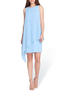 Tahari Sleeveless Chiffon Overlay Shift Dress