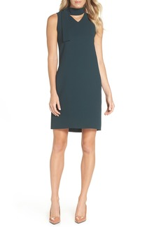 Tahari Sleeveless Choker Neck Crepe Shift Dress (Regular & Petite)