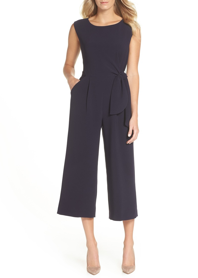 Tahari Tie Waist Crepe Crop Jumpsuit (Regular & Petite)