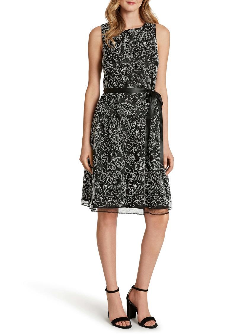 Tahari Sleeveless Embroidered Lace Dress