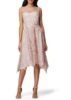 Tahari Sleeveless Embroidered Mesh Handkerchief Hem Dress