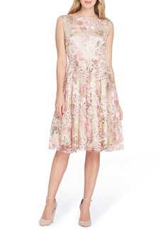 Tahari Sleeveless Embroidery Fit & Flare Dress