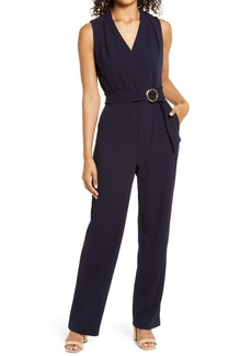 Tahari Sleeveless Faux Wrap Jumpsuit
