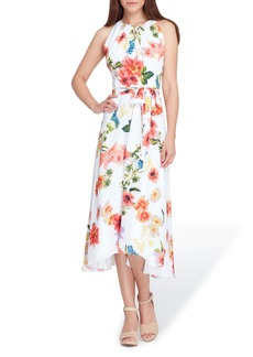 Tahari Sleeveless Floral Chiffon Midi Dress