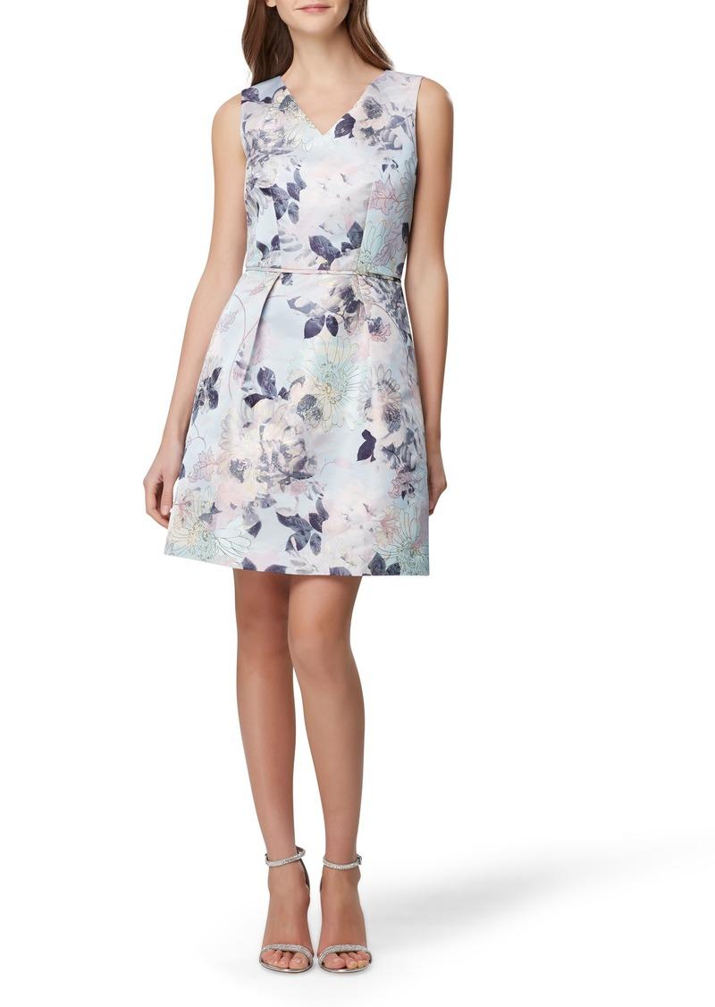 Tahari Sleeveless Floral Jacquard Fit & Flare Dress