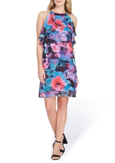 Tahari Sleeveless Floral Ruffle Chiffon Dress