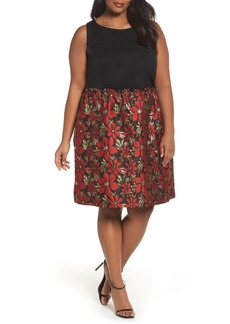Tahari Sleeveless Jacquard Fit & Flare Dress (Plus Size)