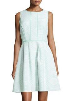 Tahari ASL Sleeveless Jacquard Fit-and-Flare Dress