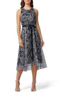 Tahari Sleeveless Metallic High/Low Dress