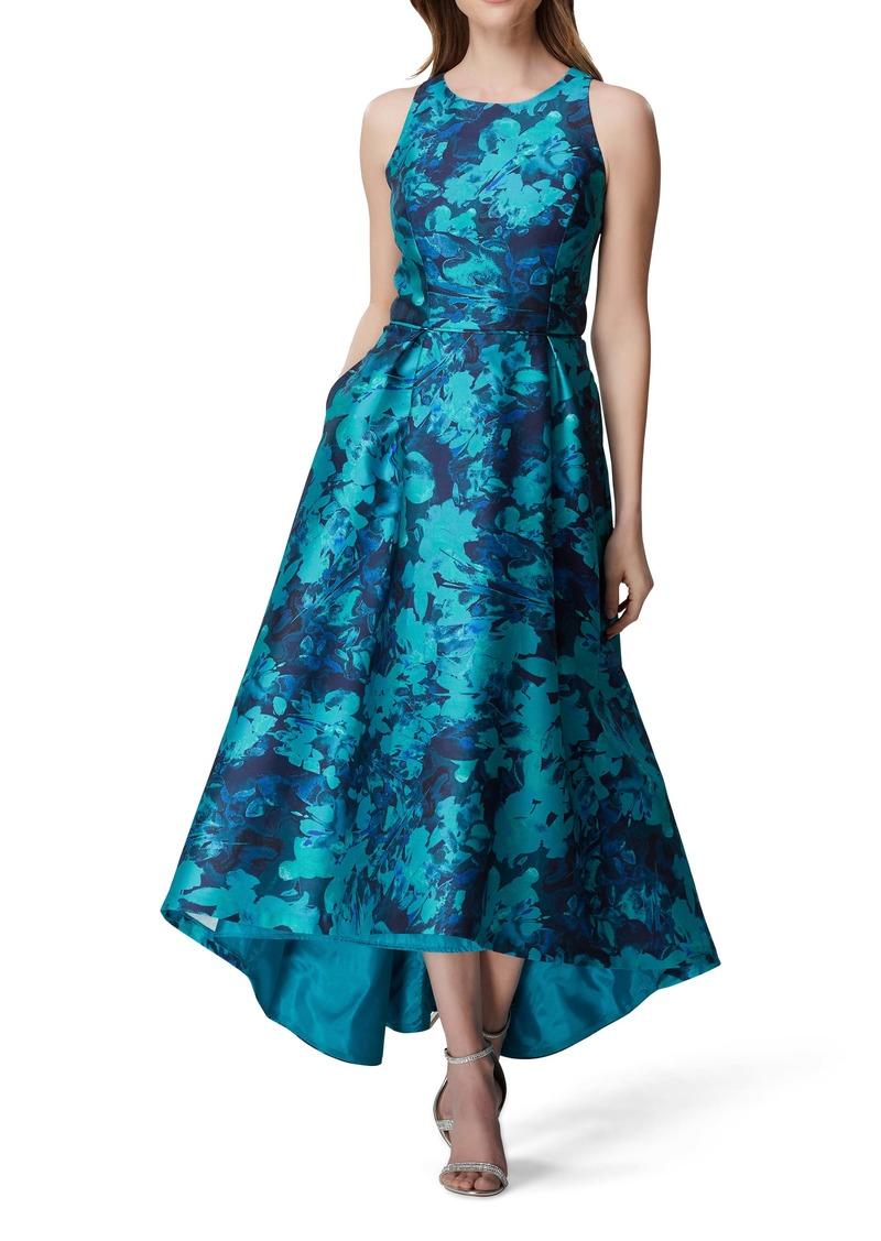 Tahari Sleeveless Printed Mikado Gown
