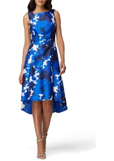 Tahari Sleeveless Printed Mikado High/Low Dress