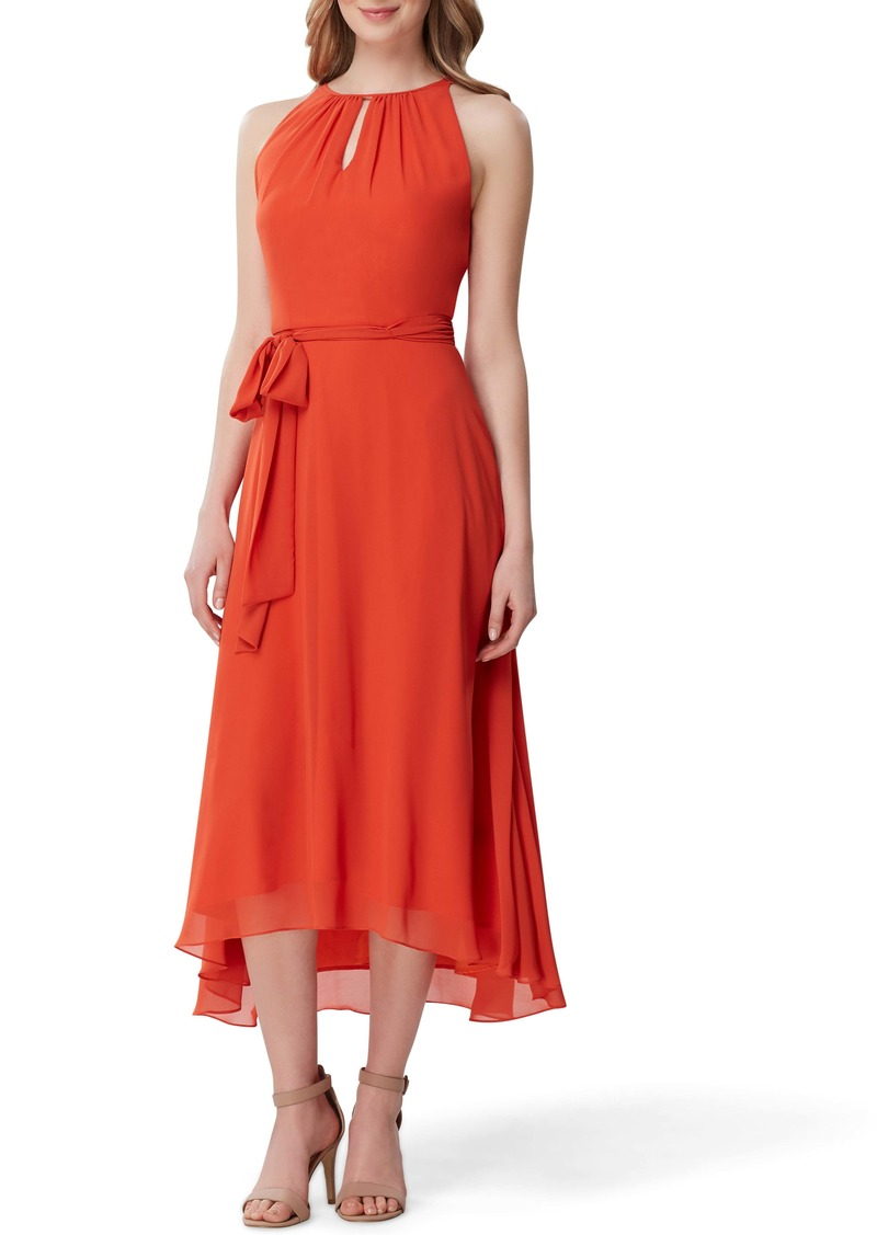 Tahari Sleeveless Tie Waist Chiffon Midi Dress (Regular & Petite)