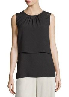 Tahari ASL Sleeveless Tiered Crepe Blouse