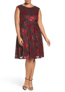 Tahari Sparkle Velvet Fit & Flare Dress (Plus SIze)