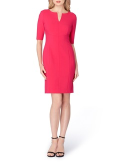 Tahari Split Neck Sheath Dress (Regular & Petite)
