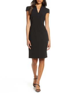 Tahari Star Neck Cap Sleeve Stretch Crepe Sheath Dress