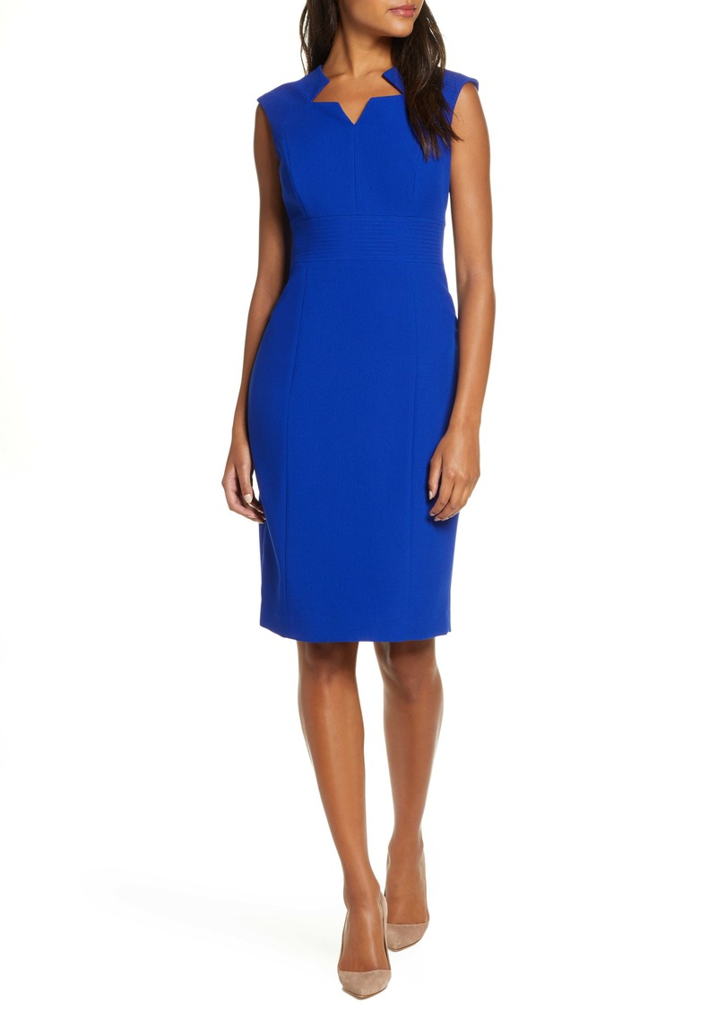 Tahari Star Neckline Crepe Sheath Dress (Regular & Petite)
