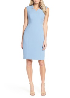 Tahari Star Neckline Crepe Sheath Dress (Regular & Petite)