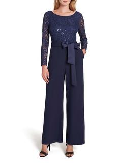 Tahari Stretch Lace & Crepe Long Sleeve Jumpsuit