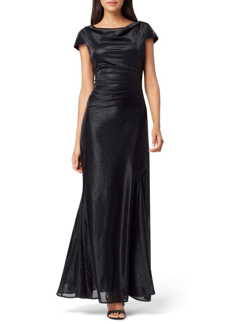 Tahari Stretch Metallic A-Line Gown