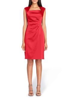 Tahari Stretch Satin Sheath Dress