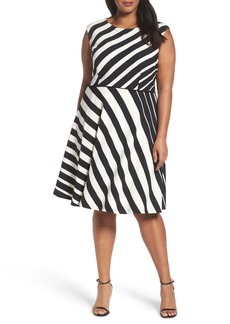 Tahari Stripe Fit & Flare Dress (Plus Size)