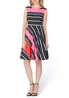 Tahari Stripe Fit & Flare Dress (Regular & Petite)
