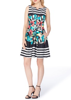 Tahari Stripe Floral Fit & Flare Dress (Regular & Petite)