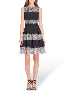 Tahari Stripe Lace Fit & Flare Dress (Regular & Petite)