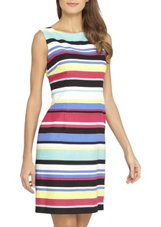 Tahari Stripe Linen Blend Sheath Dress (Regular & Petite)