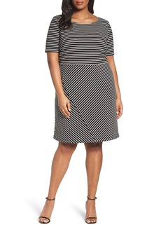 Tahari Stripe Ottoman Knit Sheath Dress (Plus Size)