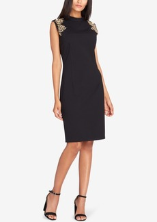 Tahari Studded-Shoulder Sheath Dress