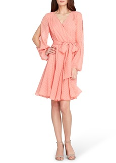 Tahari Swiss Dot Split Sleeve Chiffon Dress