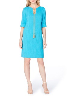 Tahari Tassel Shift Dress