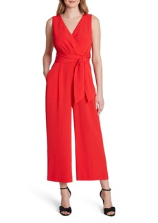 Tahari Textured Side Tie Crepe Jumpsuit