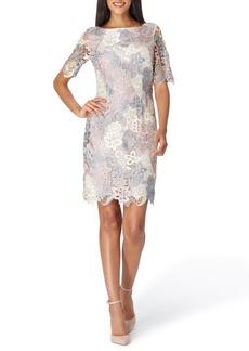 Tahari Three-Quarter Sleeve Lace Sheath Dress