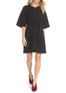 Tahari Tie Front Crepe Dress (Regular & Petite)