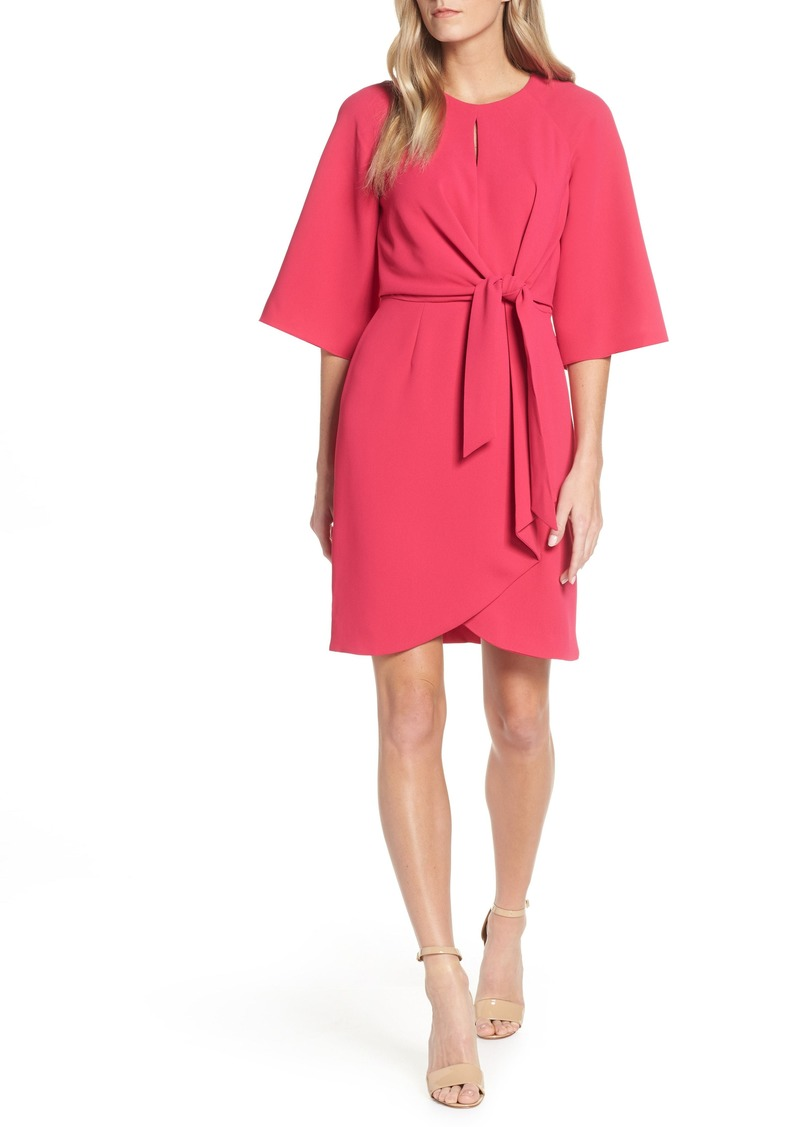 Tahari Tie Front Crepe Sheath Dress (Regular & Petite)