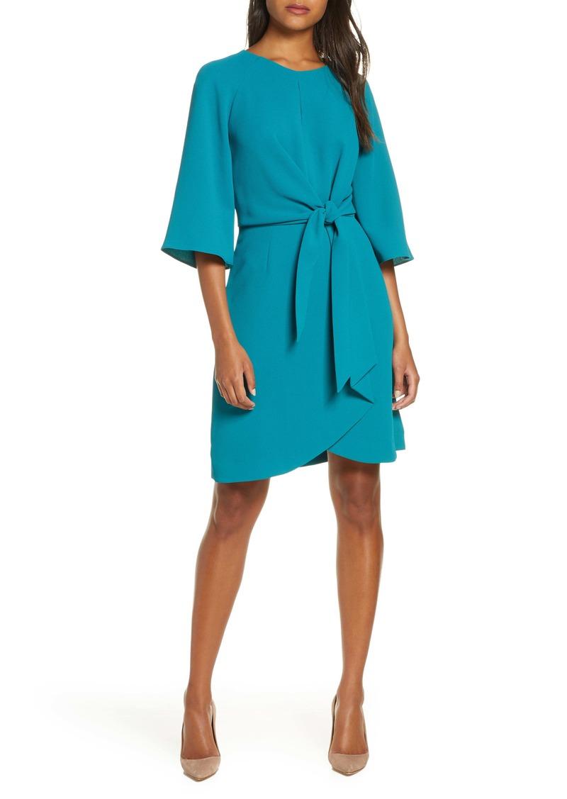 Tahari Tie Front Crepe Sheath Dress (Regular & Petite)