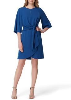 Tahari Tie Front Stretch Crepe Dress (Regular & Petite)
