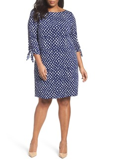 Tahari Tie Sleeve Matte Jersey Shift Dress (Plus Size)
