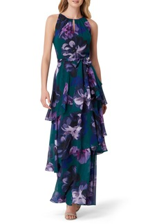 Tahari Tiered Floral Maxi Dress (Regular & Petite)